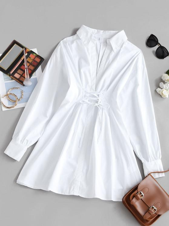 outfit Lace-up Plunging A Line Shirt Dress - MILK WHITE M