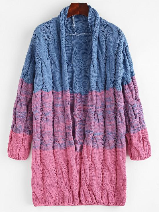 hot Open Front Colorblock Cable Knit Cardigan - OCEAN BLUE ONE SIZE