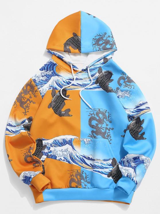 chic Two Tone Chinoiserie Animal Print Hoodie - BRIGHT YELLOW XL
