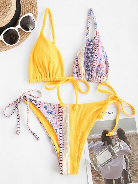 ZAFUL Ribbed Bohemian Printed String Bikini Swimwear - أرجواني S