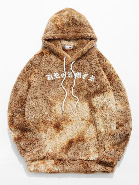 latest ZAFUL Letter Embroidered Tie Dye Faux Fur Fluffy Hoodie - LIGHT COFFEE S