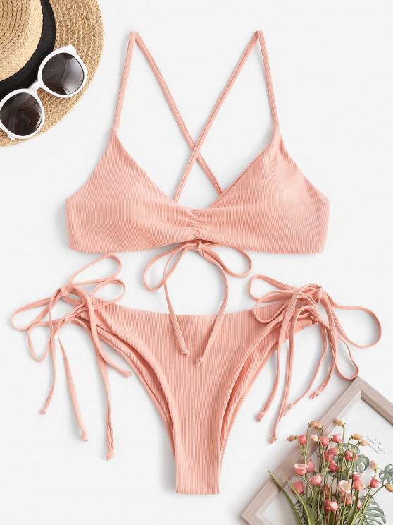 shop ZAFUL Ribbed Ruched Tie Side Bikini Swimwear - DEEP PEACH S