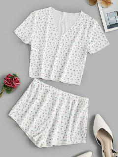 Ribbed Ditsy Floral Short Pajama Set - White S