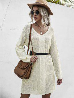 Chunky Drop Shoulder Mini Sweater Dress - Light Yellow M