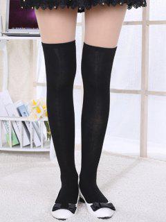 Solid Knee Length Long Socks - Black