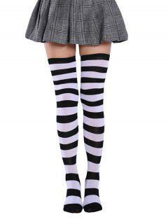 Bicolor Striped Thigh High Long Socks - Multi-a