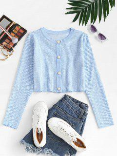 Faux Pearl Button Slim Textured Cardigan - Light Blue