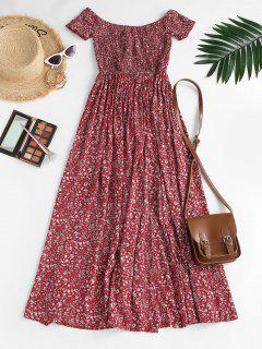 Ditsy Floral Smocked Off Shoulder Slit Dress - Red L