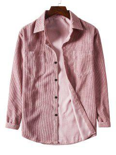 Solid Color Pockets Button Up Corduroy Shirt - Pink 3xl