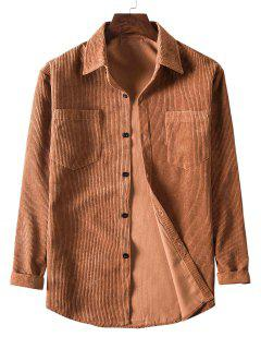 Solid Color Pockets Button Up Corduroy Shirt - Brown Xl