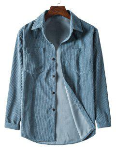 Solid Color Pockets Button Up Corduroy Shirt - Blue Gray 3xl