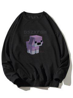 Cartoon Dog Print Rib-knit Trim Graphic Sweatshirt - Black M