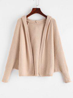 Hooded Dolman Sleeve Open Front Cardigan - Apricot