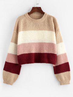ZAFUL Colorblock Drop Shoulder Crop Sweater - Light Pink S