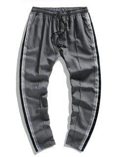 Side Striped Waist Drawstring Leisure Pencil Pants - Gray Xxl