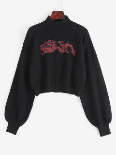 Stehkragen Orientalische Drache Grafik Pullover - Schwarz