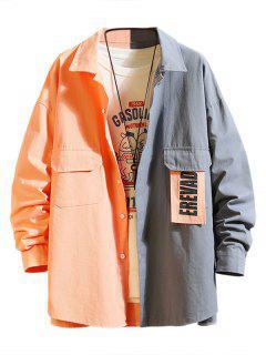 Letter Patchwork Colorblock Panel Shirt Jacket - Pink Rose 3xl
