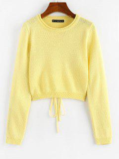 ZAFUL Rolled Trim Cutout Back Tie Sweater - Yellow S