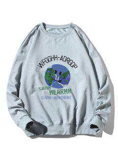 Graphic Earth Print Rib-knit Trim Sweatshirt - Light Blue Xl
