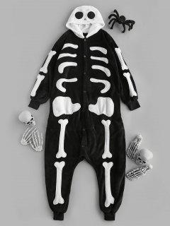 Halloween Hooded Plush Skeleton Pajama Onesie - Black S