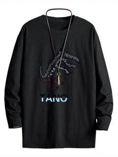 Camiseta De Cuello Redondo Con Pintura De Dinosaurio - Negro S