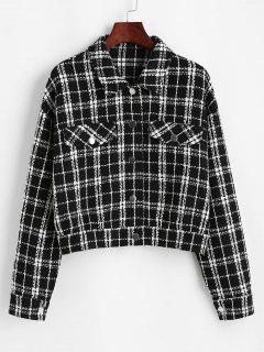 ZAFUL Plaid Flap Detail Tweed Jacket - Black S