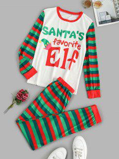 Graphic Stripes Christmas Pajama Set - Green S