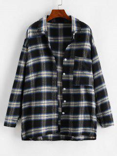 Front Pocket Plaid Oversize Shacket - Black L
