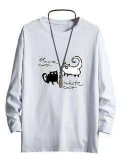 Bicolor Cats Graphic Drop Shoulder Crew Neck T Shirt - White Xs