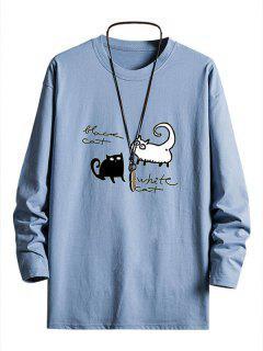 Gatos Do Ombro Da Gota Gráfico Camiseta Suéter - Céu Azul Xs
