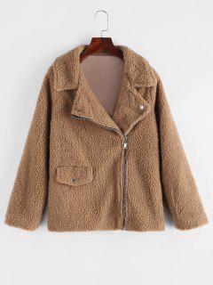 Zip Up Flap Pocket Teddy Coat - Brown M