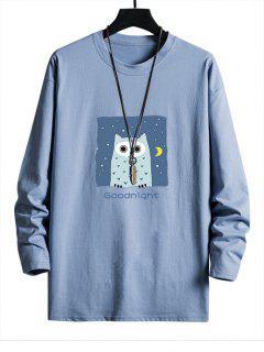 T-shirt Décontracté Hibou Graphique à Goutte Epaule - Bleu Ciel Xs