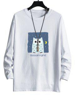 Night Owl Graphic Drop Shoulder Casual T Shirt - White L