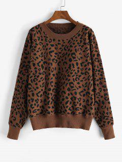 Loose Dolman Sleeve Leopard Sweater - Red Dirt M