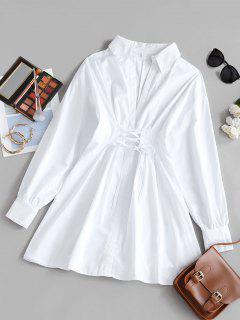 Vestido De Camisa En A Línea Con Escote Pico Con Cordón Combinado - Blanco L
