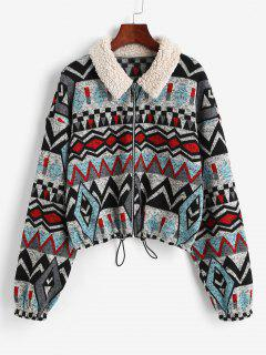 ZAFUL Faux Fur Insert Geometry Print Jacket - Black Xl