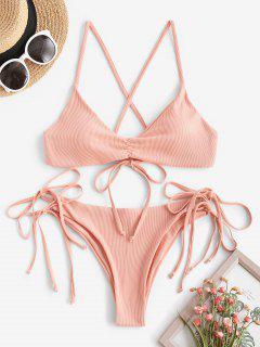 ZAFUL Gerippter Gebundener Bikini Badebekleidung Mit Rüschen - Dunkler Pfirsich L