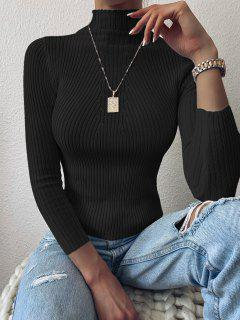Pullover Mock Neck Plain Slim Sweater - Black