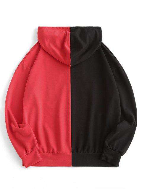 fashion Chinese Characters Print Two Tone Hoodie - BLACK M Mobile