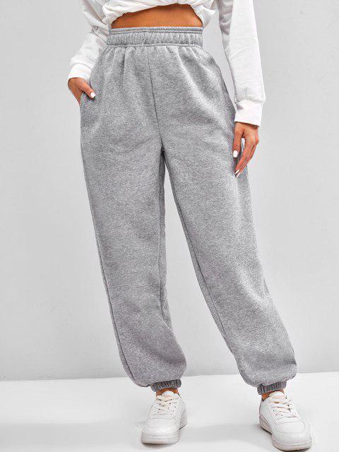Pantalones de Cintura Alta con Bolsillos de Lana - Gris Claro S Mobile