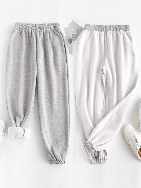 affordable Fleece Lined Pocket Beam Feet High Rise Pants - LIGHT GRAY S Mobile