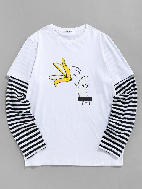 T-Shirt di ZAFUL a Righe con Stampa Banana - Bianca M Mobile
