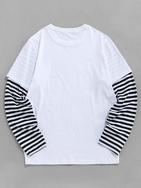 trendy ZAFUL Striped Doctor Sleeve Banana Print Funny T-shirt - WHITE 2XL Mobile