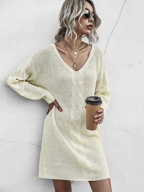 chic Chunky Drop Shoulder Mini Sweater Dress - LIGHT YELLOW S Mobile