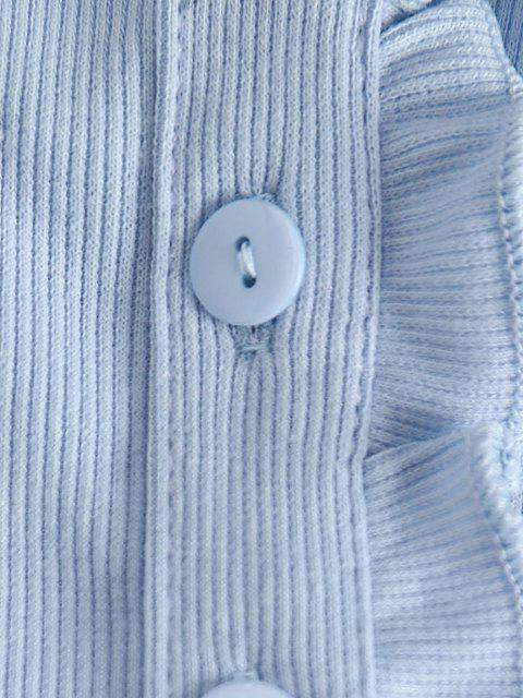 T-Shirt Corta a Costine a Balze con Bottoni - Azzurro M Mobile