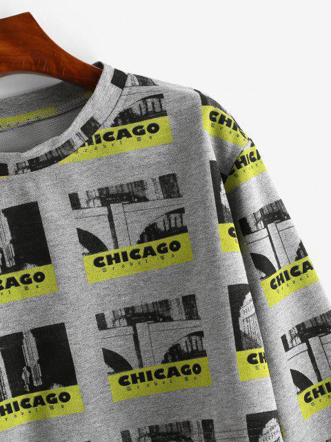 Sweat-shirtCourtLettreGraphique - Gris Foncé L Mobile