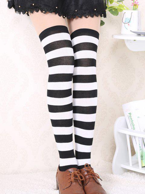 lady Bicolor Striped Thigh High Long Socks - MULTI-A  Mobile