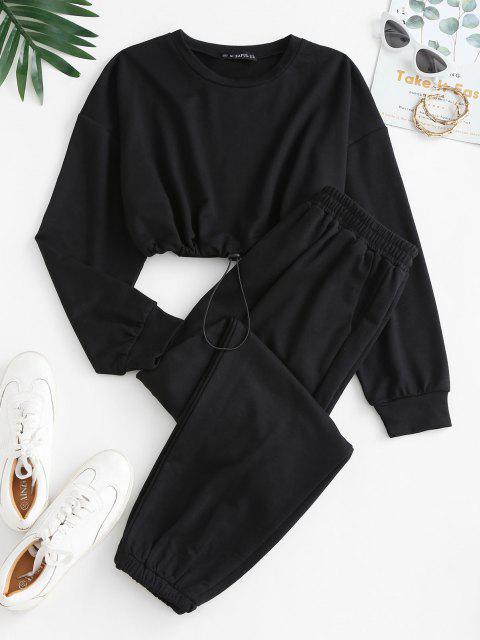 ladies Crop Sweatshirt and Joggers Tracksuit - BLACK M Mobile