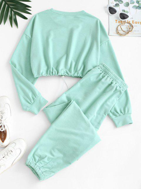 outfit Crop Sweatshirt and Joggers Tracksuit - GREEN XL Mobile