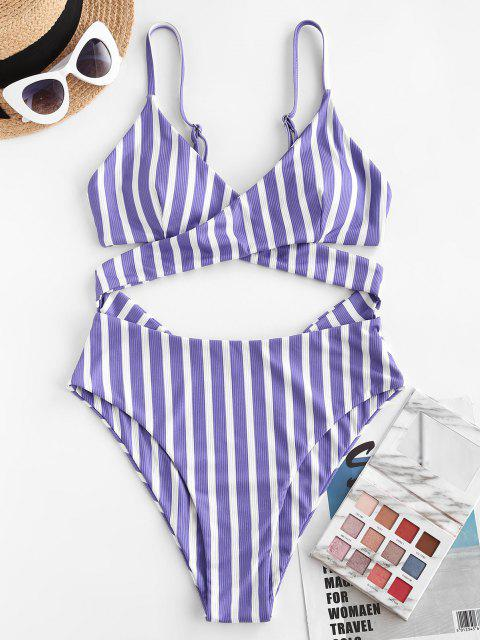 ZAFUL Ribbed Striped Criss Cross Backless One-piece Swimsuit - أزرق S Mobile